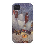 Vintage Christmas, Santa's Workshop at North Pole Case-Mate iPhone 4 Cover