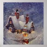 Vintage Christmas, Santa's Workshop at North Pole Poster