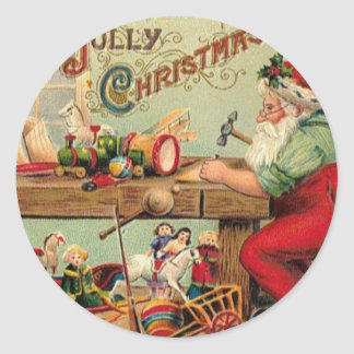 Vintage Christmas Santa's Workshop Toys Art Gifts Classic Round Sticker