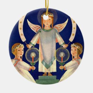 Vintage Christmas, Scandinavian Saint Lucia Angels Round Ceramic Decoration