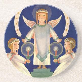 Vintage Christmas, Scandinavian Santa Lucia Angels Coaster