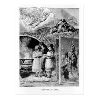 Vintage Christmas Scene: Christmas Carol Postcard