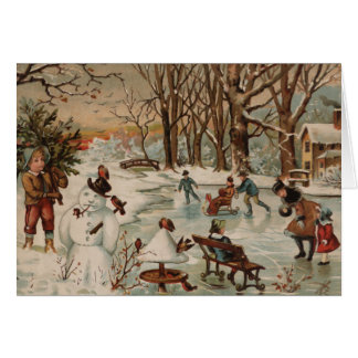 Vintage Christmas scene ice skating Card