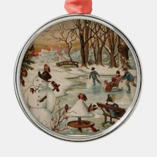 Vintage Christmas scene ice skating Christmas Ornament