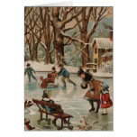 Vintage Christmas scene ice skating Greeting Card