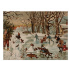 Vintage Christmas scene ice skating Poster