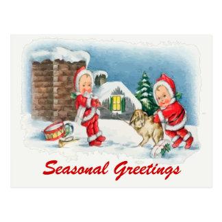Vintage christmas scene postcards