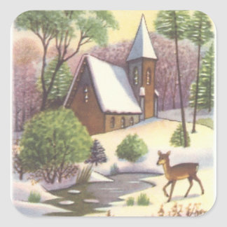 Vintage Christmas scene, Snowy Landscape with Deer Square Sticker