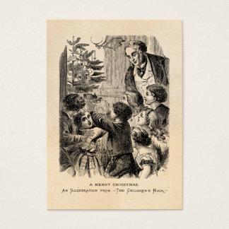Vintage Christmas Scene Victorian Children by Tree