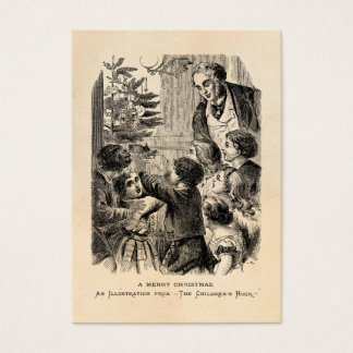 Vintage Christmas Scene Victorian Children by Tree Business Card