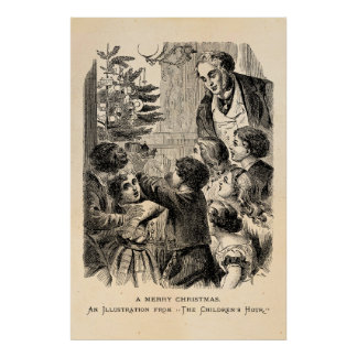Vintage Christmas Scene Victorian Children by Tree Poster