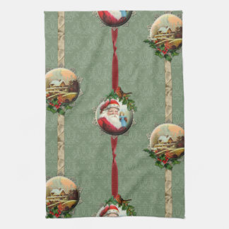 Vintage Christmas Scenes and Damask Tea Towel
