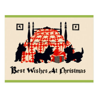 Vintage Christmas Scottie Postcard