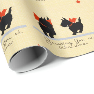 Vintage Christmas Scottish Terrier Dog Wrapping Paper