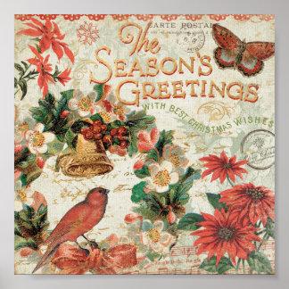 Vintage Christmas Season s Greetings Print