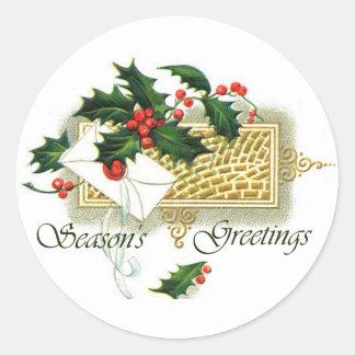 Vintage Christmas Season s Greetings Round Sticker