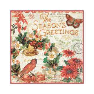 Vintage Christmas Season's Greetings Canvas Print