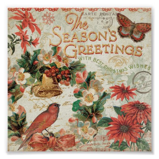 Vintage Christmas Season's Greetings Print
