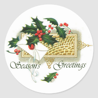 Vintage Christmas Season's Greetings Round Sticker