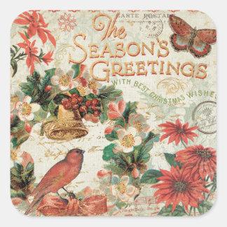 Vintage Christmas Season's Greetings Square Sticker