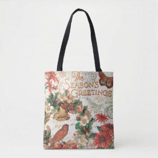 Vintage Christmas Season's Greetings Tote Bag
