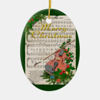 Vintage Christmas Sheet Music with Festive Violin Christmas Ornament