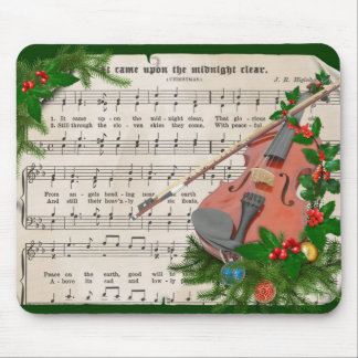 Vintage Christmas Sheet Music with Festive Violin Mouse Mat