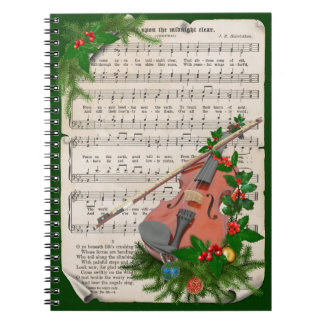 Vintage Christmas Sheet Music with Festive Violin Notebooks