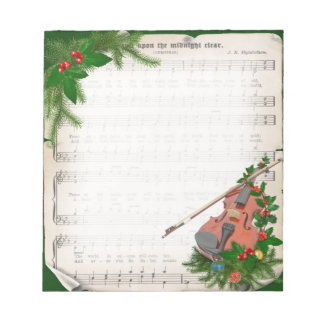 Vintage Christmas Sheet Music with Festive Violin Notepad