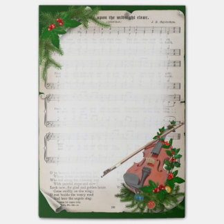 Vintage Christmas Sheet Music with Festive Violin Post-it Notes