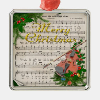 Vintage Christmas Sheet Music with Festive Violin Silver-Colored Square Decoration