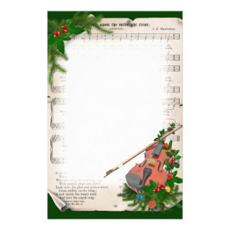 Vintage Christmas Sheet Music with Festive Violin Stationery