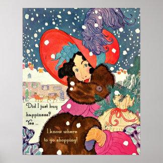 Vintage Christmas Shopaholic Print