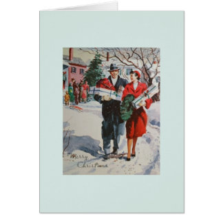 Vintage Christmas Shoppers Greeting Card