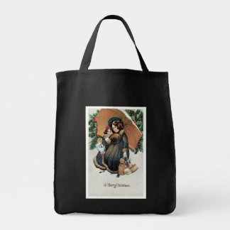 Vintage Christmas Shopping in Snow Grocery Tote Bag