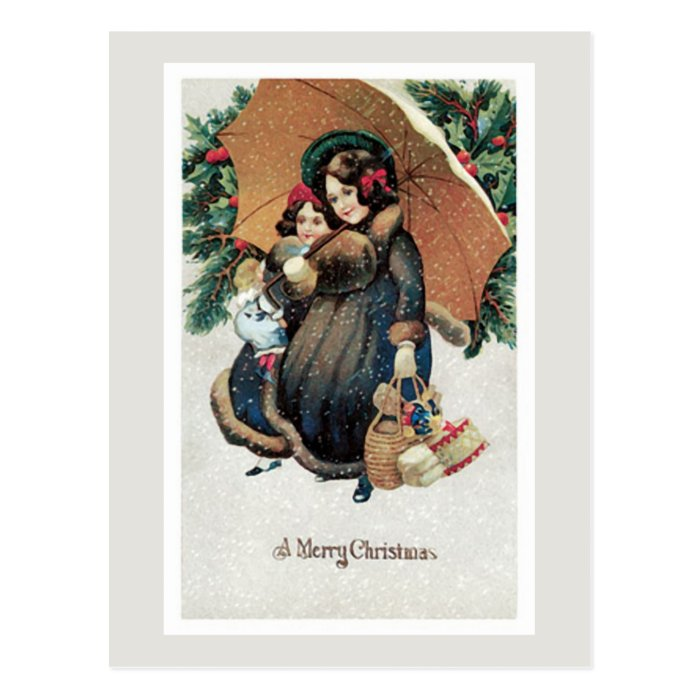 Vintage Christmas Shopping in Snow Postcard