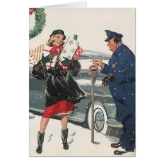 Vintage Christmas, Shopping Presents Policeman Card