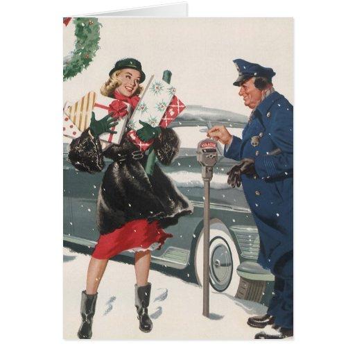 Vintage Christmas, Shopping Presents Policeman Greeting Card