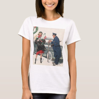 Vintage Christmas, Shopping Presents Policeman T-Shirt