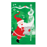 Vintage Christmas, Singing and Dancing Santa Claus Business Card