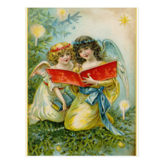 Vintage Christmas Singing Angels Postcard