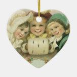 Vintage Christmas Sisters, Victorian Children Ceramic Heart Decoration