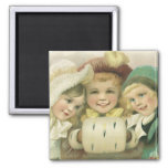 Vintage Christmas Sisters, Victorian Children Square Magnet