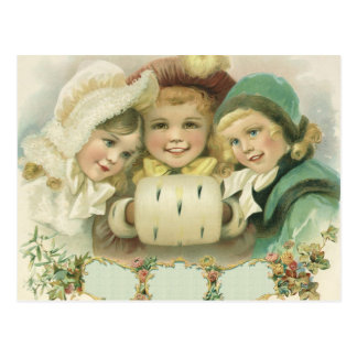 Vintage Christmas Sisters, Victorian Children Postcard