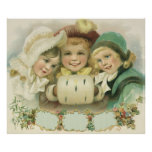 Vintage Christmas Sisters, Victorian Children Poster