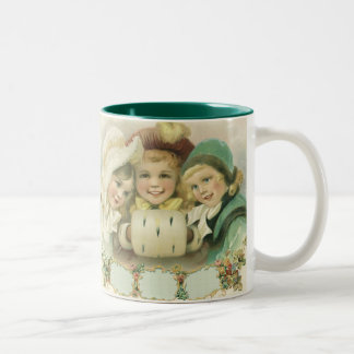 Vintage Christmas Sisters, Victorian Children Two-Tone Coffee Mug