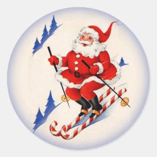 Vintage Christmas Skiing Santa Claus Sticker