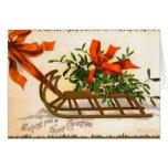 Vintage Christmas Sled Greeting Card