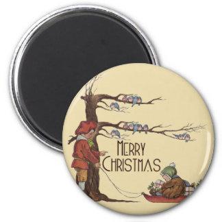 Vintage Christmas Sledding Fridge Magnets