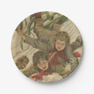 Vintage Christmas Sledding 7 Inch Paper Plate